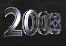 Nieuw jaar 2003 in (3D) glas Royalty-vrije Stock Afbeelding
