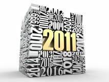 Nieuw jaar 2011. Kubus die uit de aantallen bestaat Stock Foto's