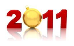 Nieuw jaar 2011 met gouden geïsoleerdee Kerstmisbal Stock Afbeeldingen