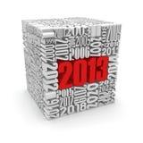 Nieuw jaar 2013.cube dat van aantallen wordt gebouwd. stock illustratie