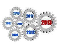 Nieuw jaar 2013 en vorige jaren in tandwielen Stock Foto's