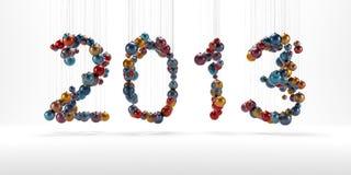 Nieuw jaar 2013 gemaakt van geïsoleerdet christmassballen Stock Fotografie