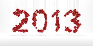Nieuw jaar 2013 gemaakt van rode christmassballen Stock Foto