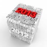 Nieuw jaar 2013. Kubus van vele jaaraantallen. Royalty-vrije Stock Afbeelding