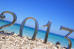 Nieuw jaar 2013 op het strand Stock Afbeelding