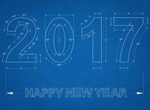 Nieuw jaar 2017 - Blauwdruk stock illustratie