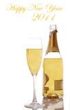 nieuw jaar Champagne en glas Royalty-vrije Stock Afbeeldingen