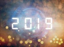 Nieuw jaar 2019 cijfers stock illustratie