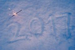 Nieuw jaar, cijfers op de sneeuw, Royalty-vrije Stock Foto