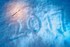 Nieuw jaar, cijfers op de sneeuw, Stock Foto