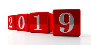 Nieuw jaar 2019 cijfers op rode die kubussen op witte achtergrond worden geïsoleerd 3D Illustratie stock illustratie