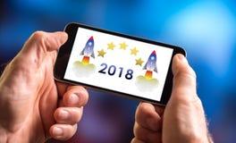 Nieuw jaar 2018 concept op een smartphone Royalty-vrije Stock Afbeelding