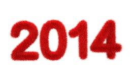 Nieuw jaar 2014 3d bontembleem Royalty-vrije Stock Afbeelding