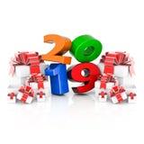 Nieuw jaar 2019 3D Illustratie stock afbeeldingen