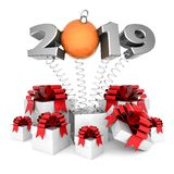 Nieuw jaar 2019 3D Illustratie royalty-vrije stock foto