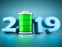 Nieuw jaar 2019 3D Illustratie royalty-vrije stock afbeelding