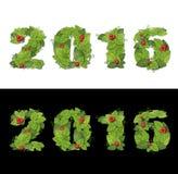 Nieuw jaar 2016 De datum voerde groene bladeren met dalingen van dauw stock foto