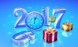 Nieuw jaar 2017 De giften van de Kerstmisfee Mooie dozen, klok T vector illustratie