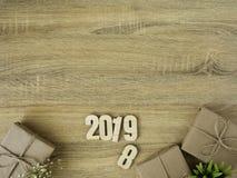 Nieuw jaar 2019 de grensontwerp van Giftdozen stock afbeelding