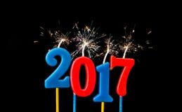 Nieuw jaar 2017 - de kaarsen van de Alfabetverjaardag in 2017 Stock Afbeeldingen