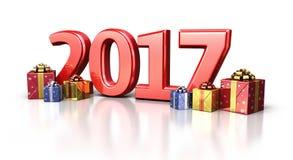 Nieuw jaar 2017 en giftdoos royalty-vrije illustratie