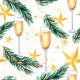 Nieuw jaar en Kerstmis naadloos patroon met champagneglas, nette tak en gouden Kerstmissterren Royalty-vrije Stock Afbeelding