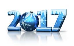 Nieuw jaar 2017 en Kerstmisbal stock illustratie