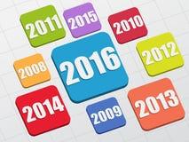 Nieuw jaar 2016 en vorige jaren Stock Foto's