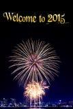 Nieuw jaar 2015 en vuurwerkachtergrond Royalty-vrije Stock Foto's