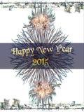 Nieuw jaar 2015 en vuurwerkachtergrond Stock Foto's
