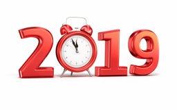 Nieuw jaar 2019 en wekker royalty-vrije illustratie