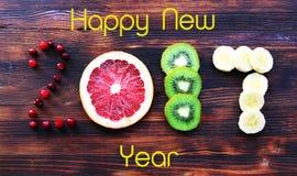 Nieuw jaar 2017 fruit en bessen, kaart Royalty-vrije Stock Foto's