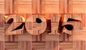 Nieuw jaar 2015 gemaakt van hout Stock Illustratie