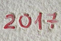 Nieuw jaar 2017 geschreven op de bloemachtergrond Stock Afbeelding