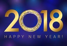 Nieuw jaar 2018 goud gekleurd vectorembleem royalty-vrije illustratie