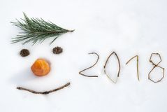 2018 Nieuw jaar grappig gezicht royalty-vrije stock afbeeldingen