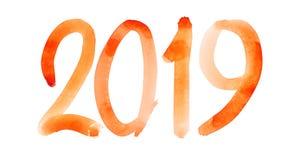 Nieuw jaar 2019 - Hand getrokken rood waterverfaantal stock illustratie