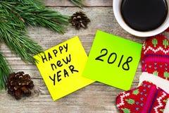 Nieuw jaar 2018 - handschrift in zwarte inkt op een kleverige nota met a Royalty-vrije Stock Fotografie