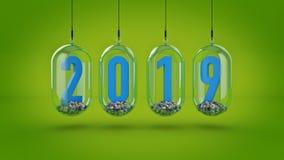 Nieuw jaar 2019 het 3d teruggeven Royalty-vrije Stock Foto