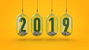 Nieuw jaar 2019 het 3d teruggeven stock illustratie