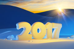 Nieuw jaar 2017, het 3d teruggeven stock foto's