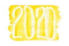 Nieuw jaar 2020 - het Gele waterverf van letters voorzien vector illustratie