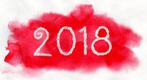 Nieuw jaar 2018 Het witte van letters voorzien op de rode waterverfachtergrond Royalty-vrije Stock Afbeelding