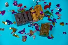 Nieuw jaar 2017 in houten letterzetseltype Royalty-vrije Stock Fotografie