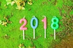 Nieuw jaar 2018 Kaarsen Numerieke tekst Royalty-vrije Stock Foto's