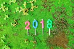 Nieuw jaar 2018 Kaarsen Numerieke tekst Stock Afbeelding