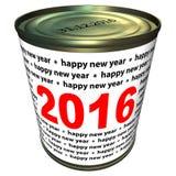 Nieuw jaar 2016 - kan Stock Foto's