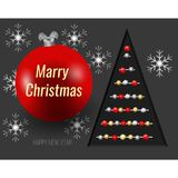 Nieuw jaar Kerstkaart, Kerstboom, sneeuwvlokken en Kerstmisstuk speelgoed Royalty-vrije Stock Afbeeldingen
