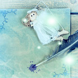 Nieuw jaar, Kerstkaart met engel, pen oud document Royalty-vrije Stock Foto's