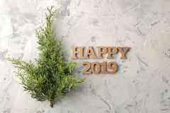 Nieuw jaar 2019 Kerstmis Vakantie Samenstelling met een Kerstboomtak en de woorden gelukkige 2019 Hoogste mening royalty-vrije stock afbeelding